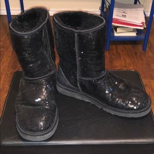 Black Sequined UGG boots